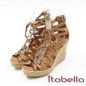 ★2017秋冬新品★kadia.羅馬風情 綁帶楔型鞋(7307-35棕)