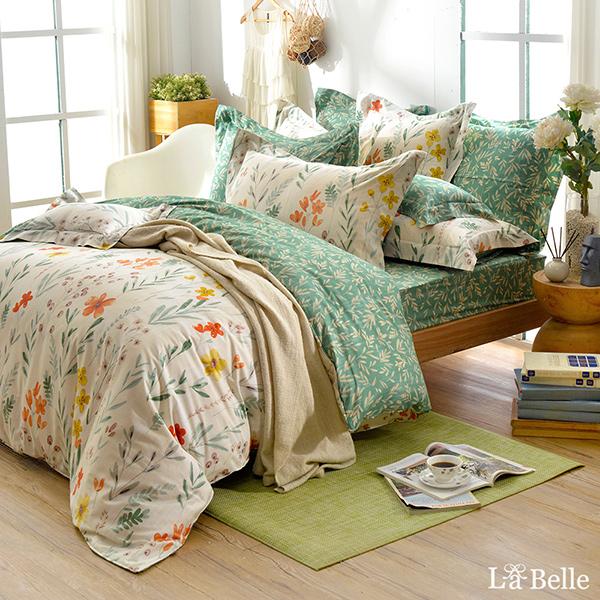 義大利La Belle《綠野青青》雙人純棉防蹣抗菌吸濕排汗兩用被床包組