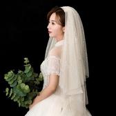 2019新款亮閃網紅拍照抖音頭紗星空婚紗香檳色超仙新娘結婚頭飾短
