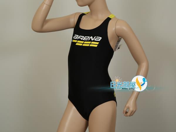 *日光部屋* arena (公司貨)/ JMS-6412WJ-BLK 女童連身泳裝(R120/R130)
