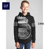 Gap男童 星際大戰系列套頭長袖連帽運動衫 370455-正黑色