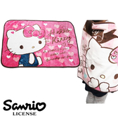 【日本進口正版】凱蒂貓 Hello Kitty 粉紅愛心款 絨毛 披肩 毛毯 毯子 三麗鷗 Sanrio - 417857