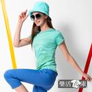 清新印花速乾彈力運動圓領短T 抗UV 吸濕排汗(綠色)● 樂活衣庫【UV01】