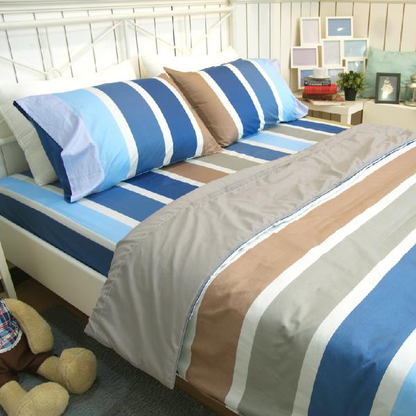 加大床包組(含枕套)  精梳純棉系列  [床包式 夏天的風] 大鐘印染 100%純綿 MIT台灣製造