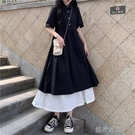 快速出貨 長裙洋裝年韓版女夏學生收腰長裙顯瘦顯高氣質黑色夏天裙子
