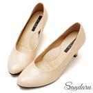 訂製鞋 MIT素面微尖頭5.8cm中跟鞋-粉