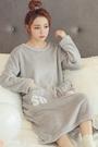 睡裙女秋冬季中長版法蘭絨睡衣女長袖連體加厚加絨保暖韓版珊瑚絨
