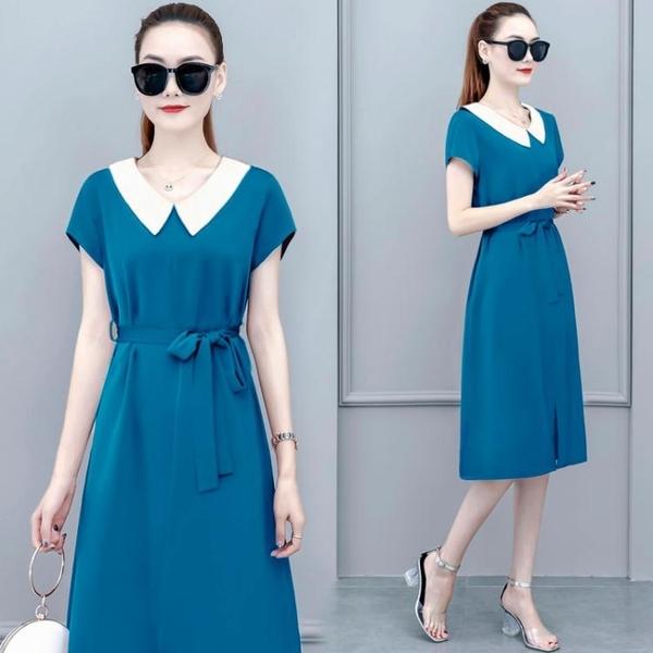 雪紡洋裝 設計感洋裝女裝夏天新款氣質收腰顯瘦法式雪紡藍色桔梗裙子 雙十二全館免運