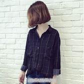 ZUCAS~(XA-8748)韓版復古格紋前排釦前短後長側開衩單口袋薄款長袖襯衫
