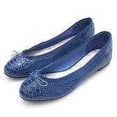 G.Ms. 蛇紋羊皮蝴蝶結芭蕾娃娃鞋-寶藍