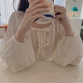 chic韓國軟糯甜美氣質小清新減齡復古蝴蝶結系帶燈籠袖百搭襯衫女『居享優品』