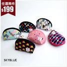 收納袋-幾何圖形防潑水鑰匙圈化妝包/收納包-共6色-(特價品)-A09090065-天藍小舖