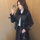 秋冬季韓版翻領皮毛一體羊羔毛加絨加厚皮衣機車服夾克外套女短款