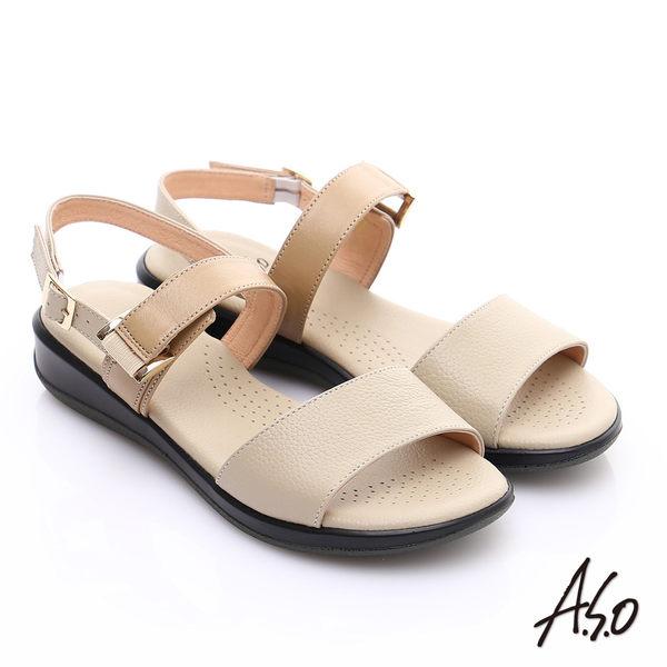 A.S.O 輕旅氣墊 真皮雙色繫帶氣墊涼鞋  米