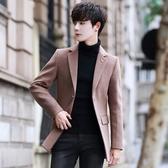 風衣男中長款冬季新帥氣毛呢青年帥氣呢子外套男短款韓版修身大衣