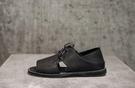 找到自己 MD 日系 時尚 潮 男 高品質 頭層牛皮 黑色 綁帶 露趾 低跟涼鞋 羅馬涼鞋 休閒鞋 皮鞋