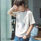 短袖男夏季男裝連帽半袖學生韓版衛衣小清新