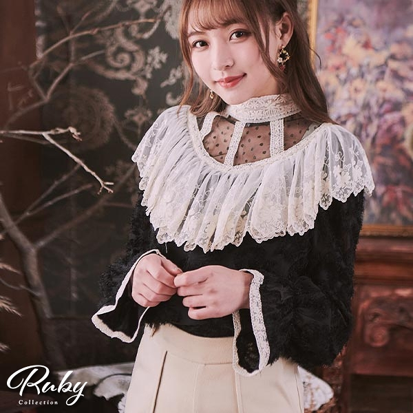 上衣 點點網紗荷葉長袖上衣-Ruby s 露比午茶