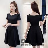 洋裝/夏季女裝韓版收腰顯瘦一字領新款赫本a字小黑裙吊帶連身裙子「歐洲站」