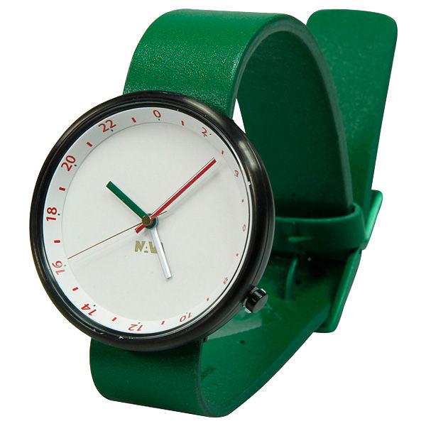 NAVA DESIGN Wherever 時空旅人雙時區腕錶-綠