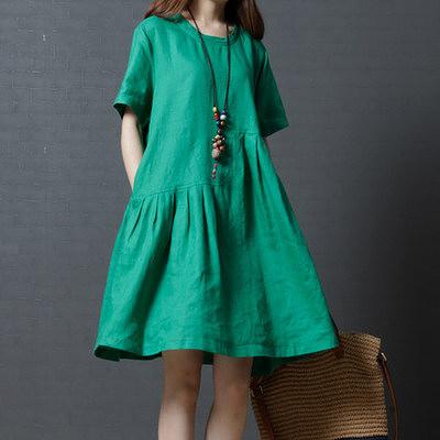胖妹妹大碼洋裝 連身裙 棉麻洋裝~1285#韓版大碼女裝時尚純色亞麻圓領連身裙 女M1FA143衣時尚