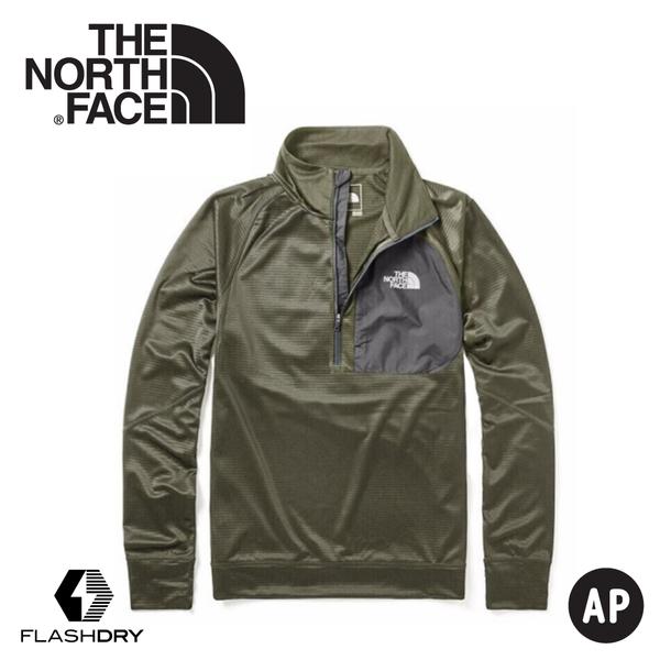 【The North Face 男 FlashDry刷毛保暖半門襟長袖上衣《灰綠》】46GW/休閒長袖/運動長袖