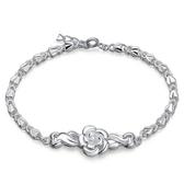 鍍銀手鏈 甜美花朵手鏈 玫瑰花手環 足銀飾品【五巷六號】s8