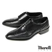 【Marelli】Wing-tip雕花手工德比鞋 黑色(408-BL)