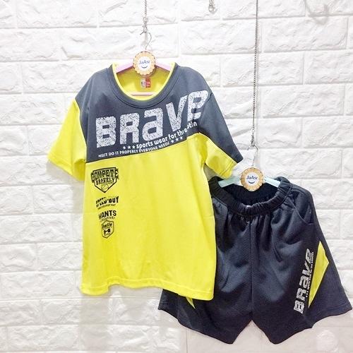 棒棒糖童裝(E3010黃)夏男大童BRAVE拼色排汗套裝 120零碼