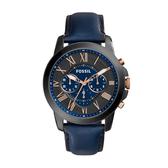 FOSSIL質感藍經典計時皮帶腕錶FS5061