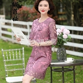 媽媽春裝連衣裙子過膝2021新款中老年女裝40歲中年闊太太婚宴禮服 快速出貨