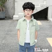 男童夏季短袖襯衫2021新款兒童格子襯衣韓版個性潮流帥氣中童夏裝