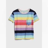 Gap女童棉質童趣刺繡圓領短袖T恤538278-粉色彩條紋