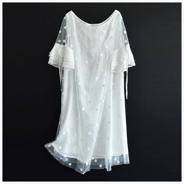 [超豐國際]純白的愛~~網紗 圓點刺繡 連衣裙 705X01