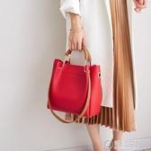 包包女2020新款女包水桶包潮韓版簡約百搭斜背包手提包單肩包大包