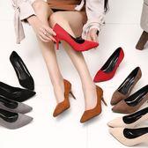 溫情鹿高跟鞋細跟女鞋性感反絨尖頭女鞋淺口中跟職業工作單鞋婚鞋 晴光小語