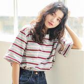 ins超火的短袖T恤女條紋夏季韓版學生百搭寬鬆chic半袖上衣服 魔方