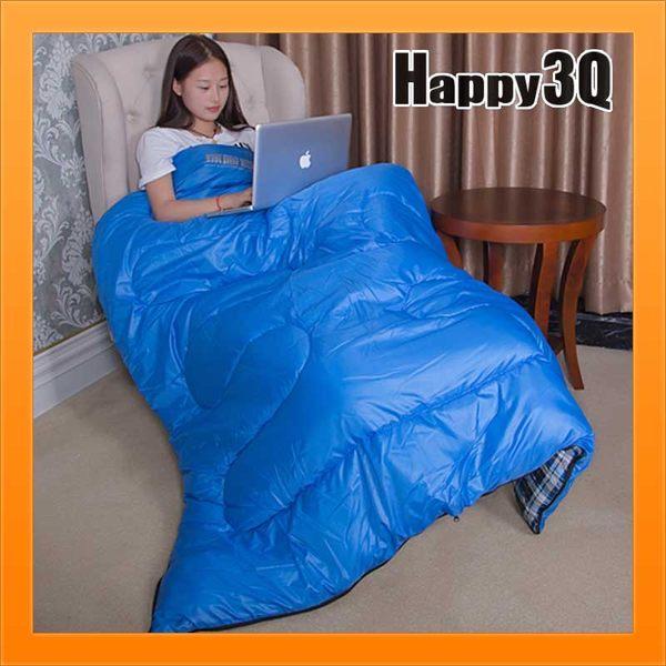 單人睡袋羽絨棉睡袋露營睡袋爬山防潑水睡袋保暖睡袋信封式-綠/藍【AAA2077】預購