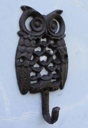 協貿國際鑄鐵工藝品鐵藝掛鉤牆掛壁飾貓頭鷹裝飾掛鉤1入