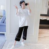 孕婦時尚款闊腿褲套韓版寬鬆短袖T恤休閒兩件套吾本良品