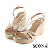 SCONA 蘇格南 全真皮 氣質立體蝴蝶楔型涼鞋 米色 31021-1