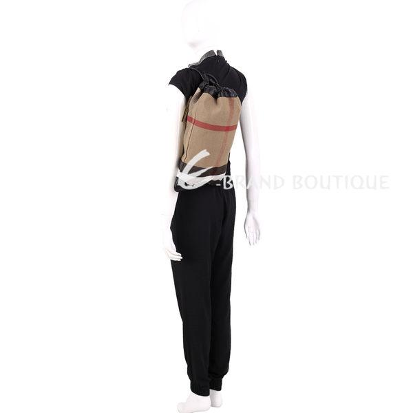 BURBERRY Duffle 經典格紋帆布旅行袋(黑色) 1620404-01