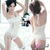 情趣用品-睡衣商品買送潤滑液♥Gaoria凡爾賽愛戀透明馬甲吊襪帶組合情趣睡衣 (不含褲襪) 白