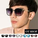 OT SHOP太陽眼鏡‧中性情侶金屬混搭膠框抗UV墨鏡亮黑全黑/漸層黑/茶色/反藍/反黑現貨Q03