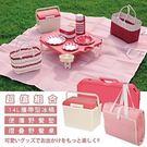 日本Pearl鹿牌-CielCiel日式野餐墊+攜帶式摺疊野餐桌+14L保冷冰桶 櫻花粉