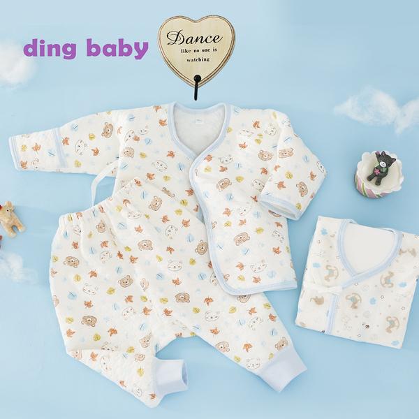 ding baby 派對熊反摺袖肚衣套裝三入組-藍(50-60cm) C-170320-B0