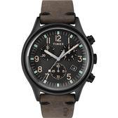 TIMEX 天美時 復刻弧面數字三眼咖啡麂皮皮帶錶 41mm 日期 碼表計時 TW2R96500 公司貨 | 名人鐘錶