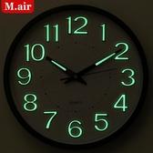 掛鐘 夜光掛鐘客廳靜音掛表家用創意鐘表時鐘臥室現代石英鐘掛鐘 莎拉嘿呦