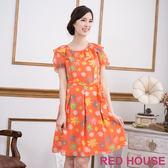 【RED HOUSE-蕾赫斯】滿版花朵雪紡洋裝(甜美橘)