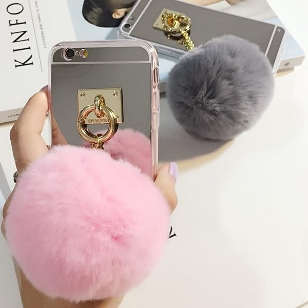 【SZ62】PP 電鍍鏡面 兔毛 毛毛球 iphone 6 plus手機殼 手機殼 手機套 iphone 6s 6s手機殼 iphone 6s 手機殼